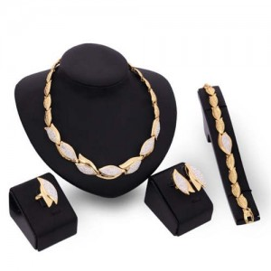 Rhinestone Embellished Buds Design High Fashion 4pcs Women Costume Jewelry Set