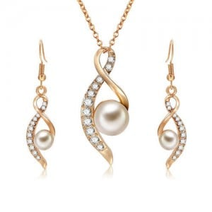 Pearl and Rhinestone Embellished Elegant Design 3pcs Costume Jewelry Set