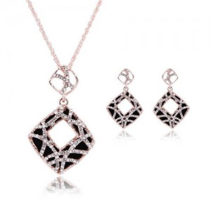 Rhinestone Inlaid Hollow Square Pendant Design 3pcs High Fashion Costume Jewelry Set