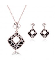 Rhinestone Inlaid Hollow Square Pendant Design 3pcs High Fashion Costume Jewelry Set