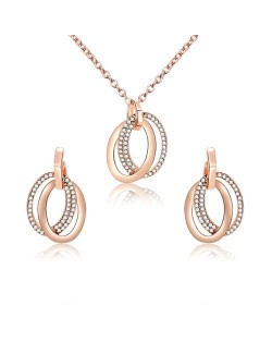 Rhinestone Embellished Rings Pendants High Fashion Alloy Jewelry Set