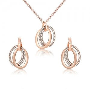 Rhinestone Embellished Rings Pendants High Fashion Alloy Jewelry Set