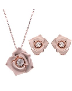 Rhinestone Inlaid Romantic Golden Flower Design Alloy Fashion Jewelry Set