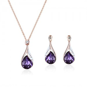 Glass Gem Inlaid Graceful Waterdrop Pendant Design High Fashion Jewelry Set