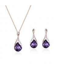 Glass Gem Inlaid Graceful Waterdrop Pendant Design High Fashion Jewelry Set
