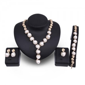 Pearl Inlaid Luxurious Design Bold Fashion 4pcs Costume Jewelry Set