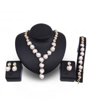 Pearl Inlaid Luxurious Design Bold Fashion 4pcs Costume Jewelry Set