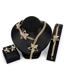 Delicate Flowers Decorated Unique Fashion 3pcs Alloy Costume Jewelry Set