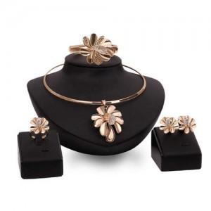 Exaggerating Flowers Bold Fashion 4pcs Golden Costume Jewelry Set