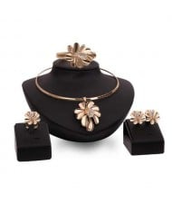 Exaggerating Flowers Bold Fashion 4pcs Golden Costume Jewelry Set