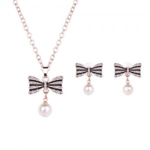 Cute Bowknot with Pearl Tassel Design Luxurious Women Jewelry Set