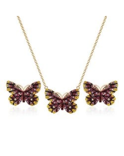 Folk Style Butterfly High Fashion Women Statement Jewelry Set