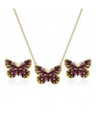 Folk Style Butterfly High Fashion Women Statement Jewelry Set