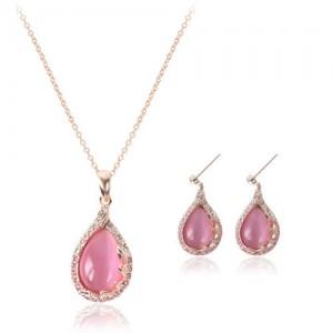 Pink Gem Inlaid Waterdrops Design Bridal Fashion Jewelry Set
