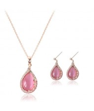 Pink Gem Inlaid Waterdrops Design Bridal Fashion Jewelry Set