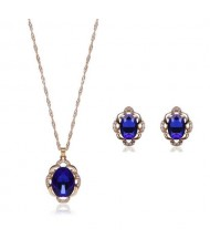 Blue Gems Inlaid Elegant Women Statement Fashion Jewelry Set