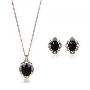 Black Gem Inlaid Elegant Women Statement Fashion Jewelry Set