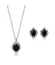 Black Gem Inlaid Elegant Women Statement Fashion Jewelry Set