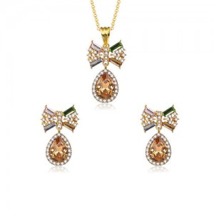 Rhinestone and Glass Bowknot Elegant Style Women Costume Jewelry Set
