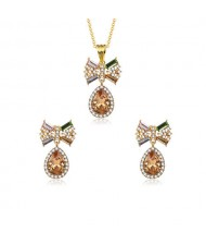 Rhinestone and Glass Bowknot Elegant Style Women Costume Jewelry Set