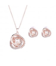 Pearl Inlaid Hollow Flower Design Bridal Style Wedding Jewelry Set