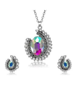 Colorful Gem Embellished Creative Folk Design Women Fashion Jewelry Set