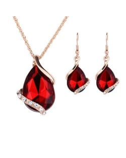 Graceful Gem Waterdrop Shape Bridal Style Wedding Jewelry Set - Red