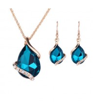 Graceful Gem Waterdrop Shape Bridal Style Wedding Jewelry Set - Blue