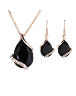Graceful Gem Waterdrop Shape Bridal Style Wedding Jewelry Set - Black