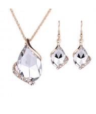 Graceful Gem Waterdrop Shape Bridal Style Wedding Jewelry Set - White