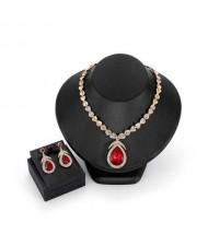 Elegant Waterdrop Rhinestone Embellished High Fashion Women Jewelry Set - Red