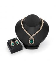 Elegant Waterdrop Rhinestone Embellished High Fashion Women Jewelry Set - Green
