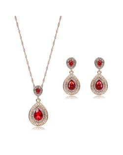 Gem Embellished Waterdrop Design Luxurious Fashion Women Jewelry Set - Red