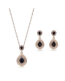 Gem Embellished Waterdrop Design Luxurious Fashion Women Jewelry Set - Black