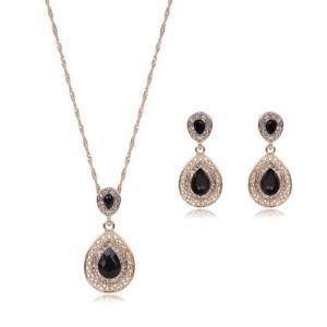 Gem Embellished Waterdrop Design Luxurious Fashion Women Jewelry Set - Black