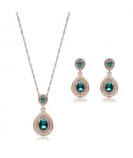 Gem Embellished Waterdrop Design Luxurious Fashion Women Jewelry Set - Green