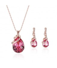 Gem Inlaid High Fashion Waterdrop Women Costume Jewelry Set