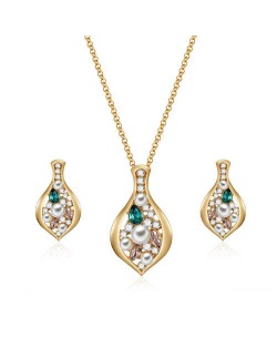Gem and Pearl Embellished Bean Pendant Women Fashion Statement Jewelry Set
