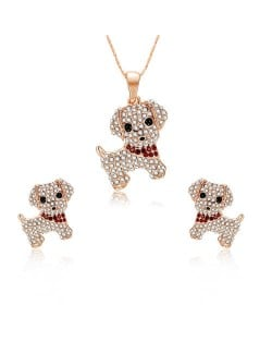 Adorable Rhinestone Dogs High Fashion Women Jewelry Set