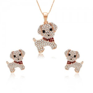 Adorable Rhinestone Dogs High Fashion Women Jewelry Set