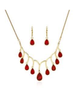 Red Gems Embellished Princess Pattern Women Fashion Statement Jewelry Set