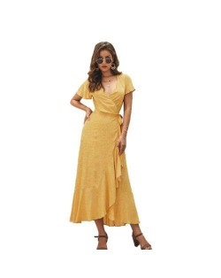 Ruffle Design V-neck Short Sleeves High Fashion Women Dress - Yellow