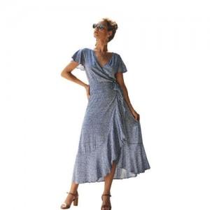 Ruffle Design V-neck Short Sleeves High Fashion Women Dress - Blue