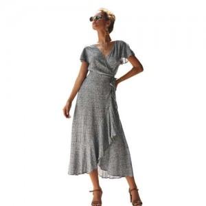 Ruffle Design V-neck Short Sleeves High Fashion Women Dress - Black
