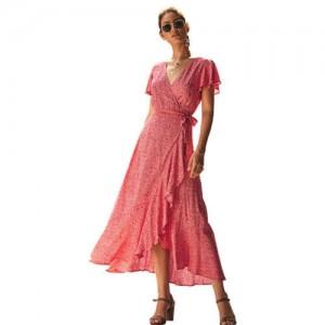Ruffle Design V-neck Short Sleeves High Fashion Women Dress - Red