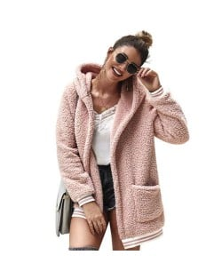 High Fashion Fluffy Style Long Sleeves Winter Fashion Hooded Women Top - Pink