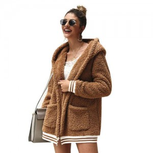 High Fashion Fluffy Style Long Sleeves Winter Fashion Hooded Women Top - Khaki