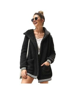High Fashion Fluffy Style Long Sleeves Winter Fashion Hooded Women Top - Black