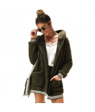 High Fashion Fluffy Style Long Sleeves Winter Fashion Hooded Women Top - Dark Green