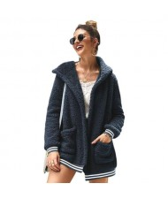High Fashion Fluffy Style Long Sleeves Winter Fashion Hooded Women Top - Royal Blue